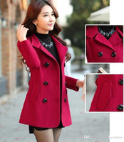Wholesale 2016 Winter Women s Double breasted Button Lapel Pocket Multicolor Big Yards Long Sleeves Mother Wool Coat Ladies Winter Coat OXL082205