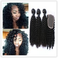africa weaving - 8A Mongolian Africa Kinky Curl Hair Extensions with Top Lace Closure Afro Kinky Curly VirginHuman Hair Weave NaturalBlack bundle free ship