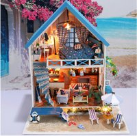 aegean sea - New Arrive Diy Wooden Large Doll House villa Model Building D Puzzle Handmade Dollhouses Miniature Birthday Gift Toy Aegean sea