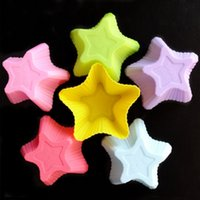 Wholesale 6 Colorful Five Pointed Star Silicone Cake Mold Pudding Cupcake Jelly Fondant Bakeware Decorating Mould Tools