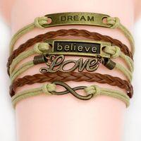 al por mayor antiguo amor pulsera-44 estilos diferentes Pulseras del encanto pulseras encantadoras del buho del corazón doble del corazón pulseras encantadoras del encanto del cuero de la antigüedad