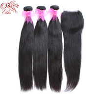 Wholesale Elites Hair Products Straight Brazilian virgin hair quot quot Piece Lace Top Closure with Hair Bundle DHL