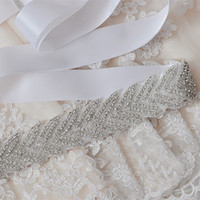 beaded bridal sashes - White Luxury Bling Bridal Sashes Belts Fashion wedding dress sashes beads Sinning Rhinestones wedding belt bridal accessory W6821