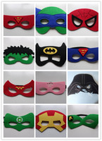 Wholesale New cartoon Superhero felt masks Fashion felt goggles Felt toy Christmas Wedding party masks Superhero masks Batman Spiderman Hulk Thor TMNT