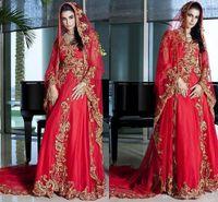 Wholesale Red Organza Indian A Line Wedding Dresses Jewel neck Cap Shoulder Beads Applique Bridal Gowns Long Sleeves Chapel Train Wedding Dress Custom