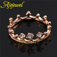 Wholesale FG Engagement Wedding Rings K Rose Gold Plated Clear Champagne Rhinestone Crown Ring For Women
