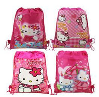 Wholesale 20pc Cartoon Hello kitty Mickey sofia Non woven Drawstring backpack School bag Shopping Bags Gift for Kid party favor CC07