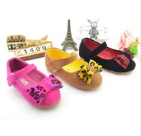 Wholesale DHL EMS FEDEX ARMAE Free Girls Shoes Autumn Korean Child Girl Princess Bowknot PU Magic Tape Soft Sole Flats Black Rose Yellow T K1531