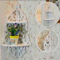 bath storage shelves - White Carved Wall Panels Wall Corner Shelf Storage Rack Flowerpot Bath Holder Double Bathroom Shelves Bolt Inserting Type