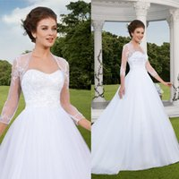 Custom Made A Line 2015 Dentelle Robes de Mariage Vintage Plus Size Sweetheart train manches courtes Ruffles Tulle White Robes de mariée