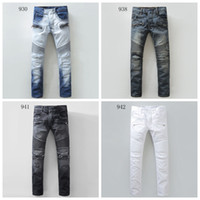 Wholesale new coming brand balmain jeans for men designer brand denim biker men balmans jeans famous brand high quality true jeans Plus size