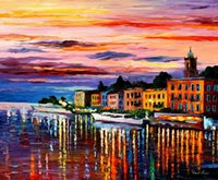 bellagio linen - Landscape Modern Painting lake como bellagio art on canvas High quality Handcrafted