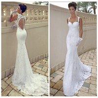 beach wedding designs - Vintage Lace Mermaid Wedding Dresses Spaghetti Strap Sweetheart Ivory Open Back Summer Beach Bridal Gown Sweep Train New Design