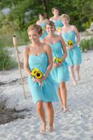 Cheap Romantic Cheap Chiffon Beach Bridesmaid Dresses 2015 Light Sky Blue Sweetheart Ruched Short Wedding Dresses Wedding Party Dresses