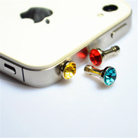 Wholesale New Cell Phone Anti Dust Plug Cellphone Mixed Color Glass Diamond Stopper Universal mm Headset Jack Ear Cap Bling Resin Anti Dust Gadget