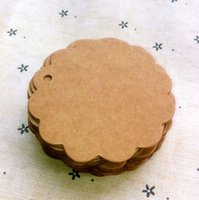 Wholesale Round Label Flower Shape Tie String Kraft Paper Gift Craft Packaging Tag Label