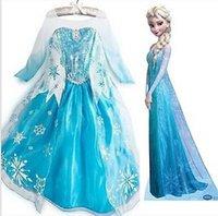 Cheap TuTu SSJ 2015 Elsa Dresses Best Spring / Autumn Pleated Frozen Princess Dresses