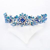 al por mayor tiara azul reina-La boda de la manera de la vendimia Rhinestone cristalino azul Reina de la reina Accesorios del pelo de la princesa Diadema de la corona Tiara La venda de los cascos de la joyería