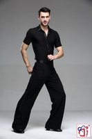 ballroom dance shirts - Boys men s adult Black Satin Ribbon On Side Panel Ballroom Tango Salsa Samba Pants or Shirt Dancing Boy Mens Latin Dance Pants