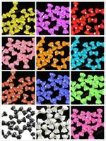 al por mayor fimo uñas 3d-3D DIY Uñas de Arte Brilla Corbata de Moño Corbatín Bowknot adhesivo Acrílico Rodajas de diamantes de Imitación de Puntas de 12 Colores para elegir 1000pcs