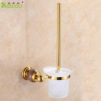Wholesale Promotion Gold Plating Toilet Brush Holder solid Construction Gold Plating Finish Ceramic Cup bathroom Accessories X2011