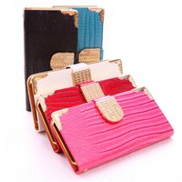 Cheap Hot PU Flip Leather Case Luxury Diamond Rhinestones Wallet Cases Cover For iPhone 4 4S 5 5S iphone 6 4.7 SAMSUNG GALAXY S3 S4 S5 Note 2 3