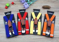 Wholesale Multi color Fashion kids genuine leather suspenders children Suspenders boys girls belts kids straps clips