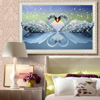 antique embroidered - DIY D Swan Eternal Love Round Diamond Painting Cross Stitch Kits Soulmate Diamond Mosaic Home Decor Diamonds Embroider