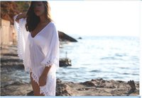 Wholesale Sexy Crocheted Dresses - Free Shipping Sheer Swimwear 2016 Bathing Suit Cover Up Sexy Crochet White Pareo Beach Dress Summer Bikini Swimsuit Cover Up Women dress