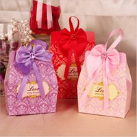 Wholesale 2015 hot sale lavender bow paper wedding favors vintage candy box party favors with bowknot ribbon candy bags