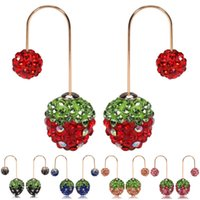 Cheap New Arrival Multi Colors Shamballa Double Side Strawberry Earrings Fashion Crystal Dangle Earrings For Women Jewelry Top Quality 10pairs lot