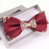 Wholesale Men and women suits double tie the groom s best man married British han edition metal box bow tie