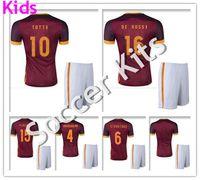 beige uniform - Kids Maillot de foot Home Red Soccer Kit Uniform Pjanic De Rossi Nainggolan Camiseta de Futbol ROMA football shirt