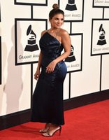 award decorations - Red Carpet th Grammy Awards Sexy Back Long Sleeve Evening Celebrity Dresses Fold decoration prom dress evening dresses