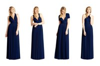 Cheap 2015 New Two Birds Cheap Bridesmaid Dresses Under $50 Convertible Navy Blue Wedding Party Dress Party Prom Evening Dresses Twist Wrap Gowns