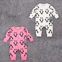 Wholesale 2016 Baby clothing Romper infant one piece newborn jumpsuits penguin long sleeve kid clothes wear Spring Fall