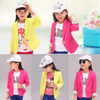 Cheap 2015 Toddlers Kids Girls Coat Solid Dot Blazers Jacket Slim Fit Suits polka dot suit child blazer outerwear 2-7Y