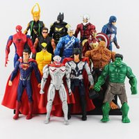 Wholesale 14pcs set cm The Avengers Age of Ultron Hulk Hawkeye Captain America Thor Batman Spider man Action Figure Toys Gifts For Boy