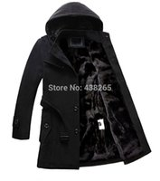Wholesale Big Promotions Men urban style solid hooded sash fleece lining wool coat outwear stand collar winter warm clothes parka