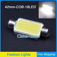 Acheter Cartes haute-10PCS / Lot Haut 42mm lumineux LED Festoon lecture Ampoules Intérieur, Expédition Car COB Chip C5W Carte Free Light