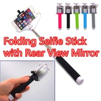 Wholesale Newest Extendable Handheld Wire Control Selfie Fold Monopod Tripod Stick With Remote For Phone With Rear View Mirror with retail pacakge
