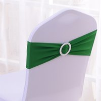 Wholesale 100PCS Dark Green Elastic Stretch Chair Bands With Buckle Slider Sashes Bow For Wedding Home Party Suppliers Decorations ECB DG100