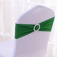100PCS vert foncé Elastic Stretch chaise bandes avec Boucle Slider Sashes Bow pour mariage Home Party Fournisseurs Décorations ECB-DG100