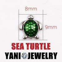 achat en gros de charmes de verre vert-Charms Floating Charm Sea Green Turtle alliage bricolage animaux pour mémoire vivante de verre Médaillon Collier Bracelet bricolage