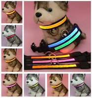 Wholesale LED Nylon Pet dog collars leashes Night Safety LED Light up Flashing Glow In The Dark Electric LED Pets Cat Dog Collar