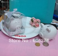 bank giveaways - Baby Shower Favors Ceramic Mini Piggy Bank saving Box in Gift Box with Polka Dot Bow Wedding giveaways gifts
