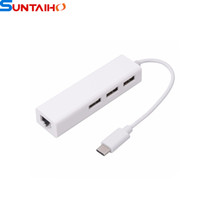 Wholesale USB Type C Hub with RJ45 LAN Ports Adapter For New inch Macbook Google new Chromebook Pixel Surface Pro
