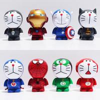 al por mayor cosplay vengadores-Doraemon figura de juguete Cosplay Los Vengadores 2 Batman Verde Linterna El Hombre Araña Flash Capitán América PVC Figura Modelo Juguetes