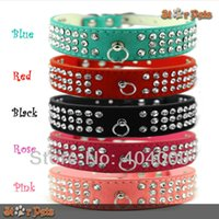 Wholesale 3 Rows quot Width Soft PU Suede Leather rows Dog Rhinestone Collars quot Length Colors Fit for Small Medium Breeds