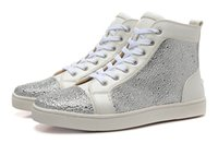 Wholesale New design brand men women white genuine leather with sliver rhinestones red bottom high top sneakers causal flats sports shoes